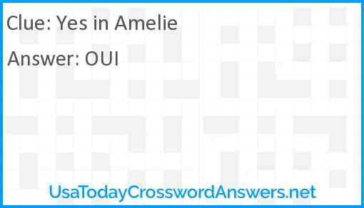Yes in Amelie Answer